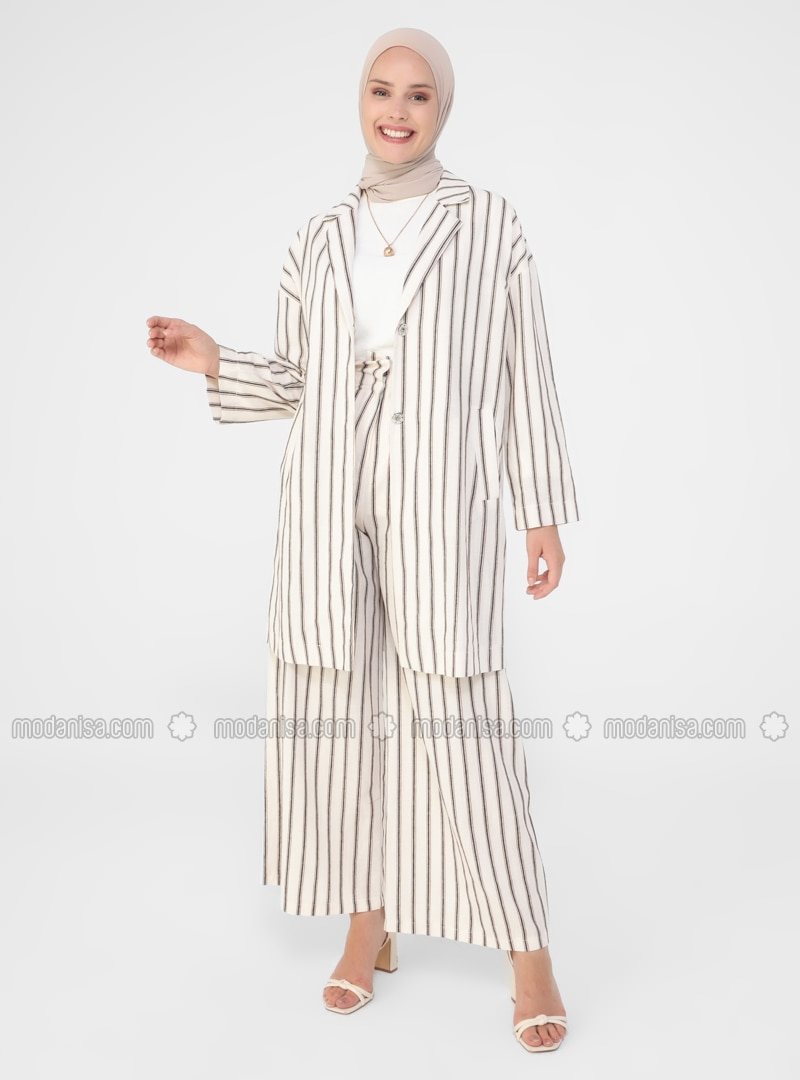 Beige - Stripe - Unlined - Shawl Collar - Cotton - Topcoat