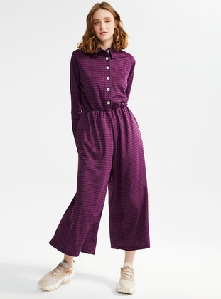 Purple - Checkered - Unlined - Point Collar - Jumpsuit