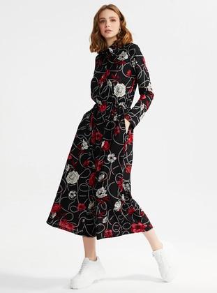 Black - Floral - Unlined - Point Collar - Jumpsuit