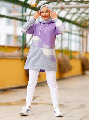 Plaid - Lilac - Sweat-shirt