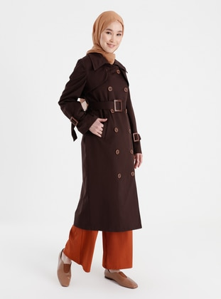 Brown - Unlined - V neck Collar - Trench Coat
