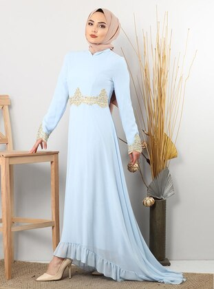 Fully Lined - Baby Blue - Modest Evening Dress