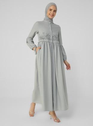 Gray - Blue - Crew neck - Unlined - Cotton - Modest Dress