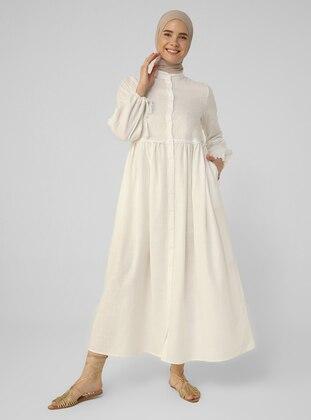 Ecru - Crew neck - Unlined - Cotton - Modest Dress
