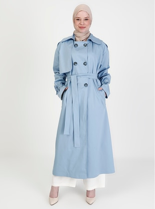 Baby Blue - Fully Lined - V neck Collar - Trench Coat
