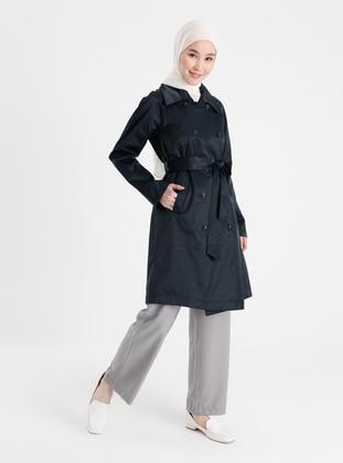 Navy Blue - Unlined - V neck Collar - Trench Coat