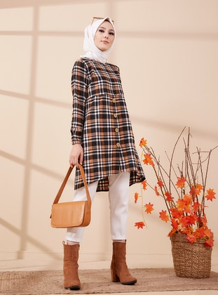 Tan - Plaid - Crew neck - Tunic