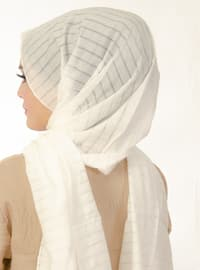 White - Striped - Instant Scarf