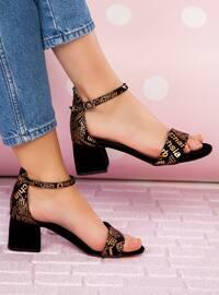 Bronze - Black - High Heel - Evening Shoes