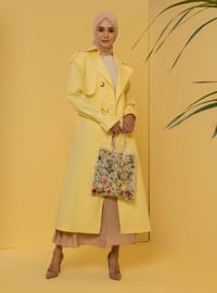 Yellow - Fully Lined - V neck Collar - Trench Coat