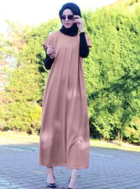 Brown - Crew neck - Unlined - Modest Dress