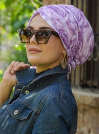 Lilac - Printed - Instant Scarf
