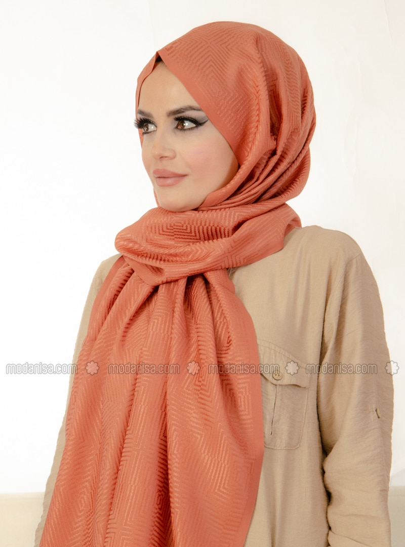 Tan - Printed - Instant Scarf