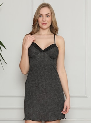 Black - Multi - V neck Collar - Nightdress
