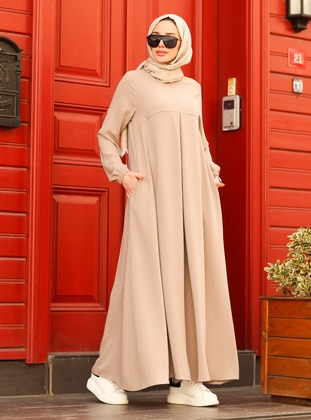 Beige - Crew neck - Modest Dress