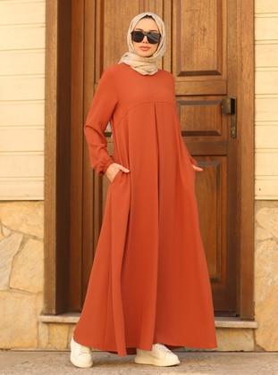 Tan - Crew neck - Modest Dress