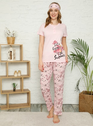 Pink - Crew neck - Multi - Pyjama Set