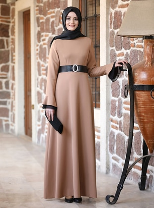 Camel - Unlined - Crew neck - Modest Evening Dress