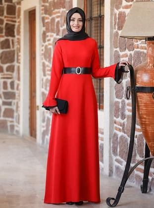 Red - Unlined - Crew neck - Modest Evening Dress