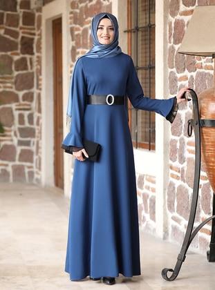 Petrol - Unlined - Crew neck - Modest Evening Dress
