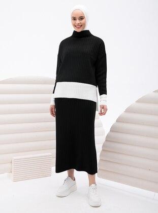 Black - Unlined - Knit Suits