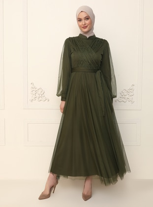 Khaki - Fully Lined - Crew neck - Modest Evening Dress