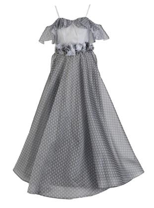 Gray - Fully Lined - V neck Collar - Modest Evening Dress