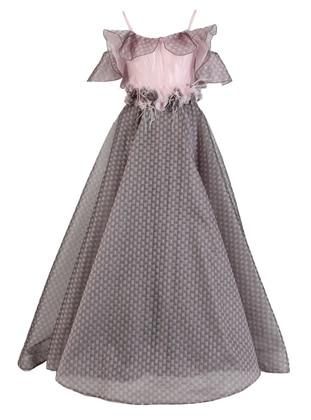 Gray - Powder - Fully Lined - V neck Collar - Modest Evening Dress