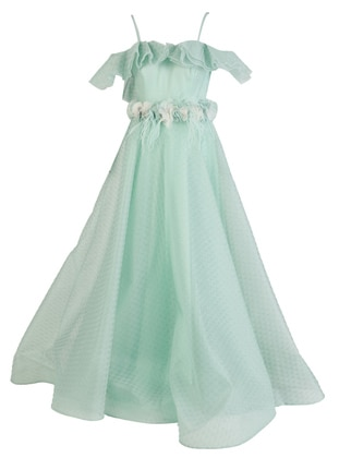 Mint - Fully Lined - V neck Collar - Modest Evening Dress