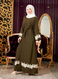 Khaki - Unlined - V neck Collar - Abaya
