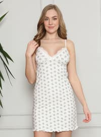 White - Ecru - Multi - V neck Collar - Nightdress