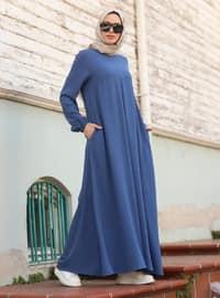 İndigo - Yuvarlak Yaka - Elbise