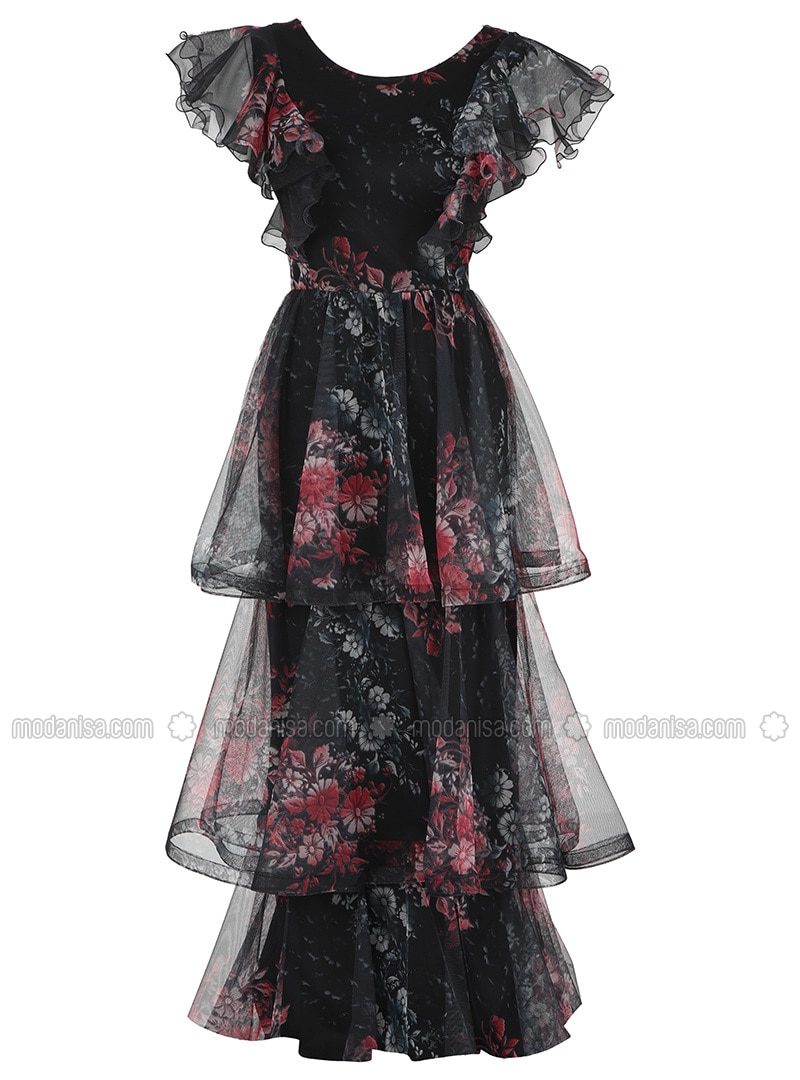 Red - Black - Fully Lined - Crew neck - Modest Evening Dress