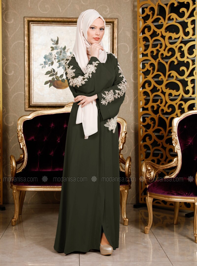 Khaki - Unlined - V neck Collar - Abaya