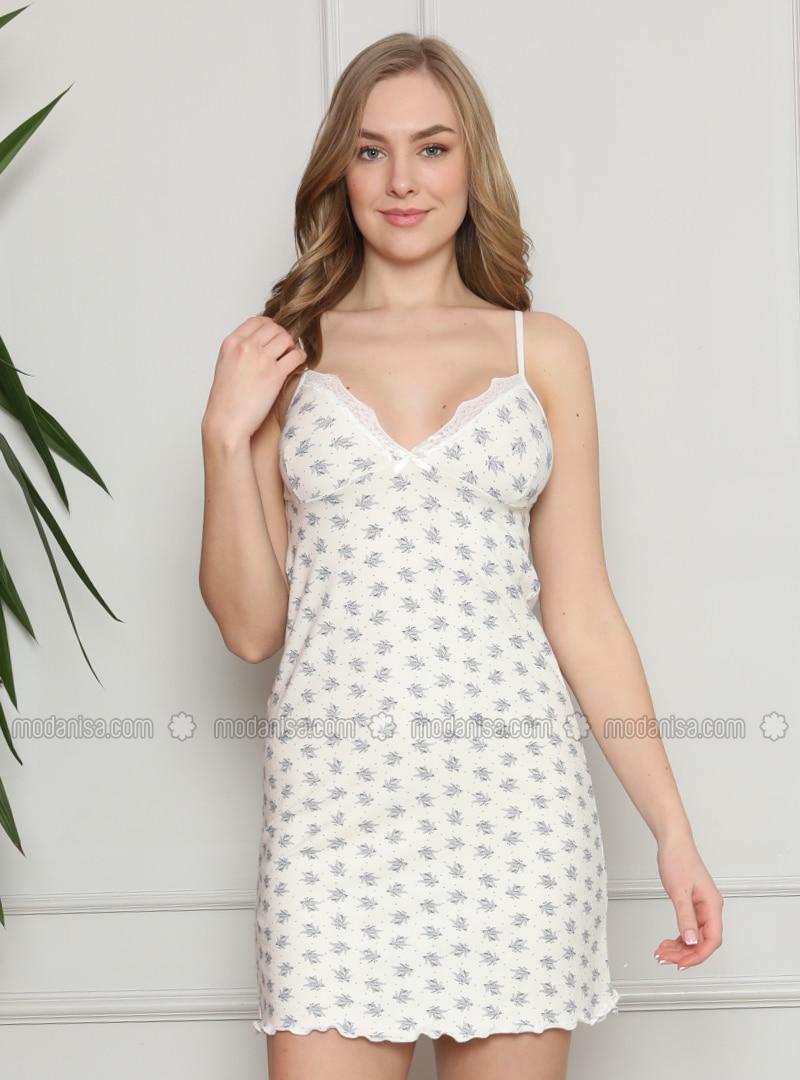 White - Ecru - Multi - V neck Collar - Nightdress