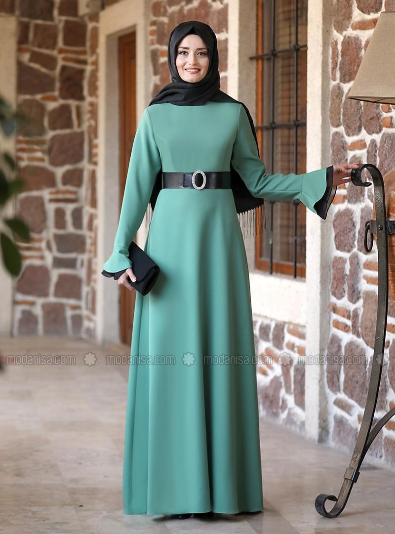 Green Almond - Unlined - Crew neck - Modest Evening Dress
