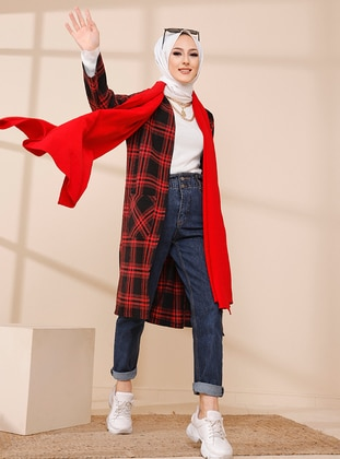 Red - Plaid - Unlined - Jacket