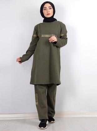 Khaki - Khaki - Crew neck - Tracksuit Set