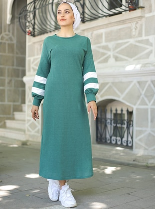 Emerald - Stripe - Unlined - Modest Dress