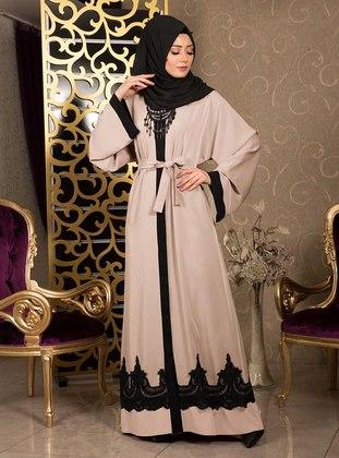 Cream - Hac ve Umre - V neck Collar - Abaya