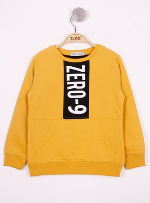 Multi - Crew neck - Unlined - Mustard - Boys` Sweatshirt
