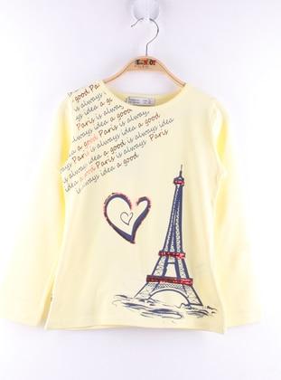 Multi - Crew neck - Unlined - Yellow - Girls` T-Shirt
