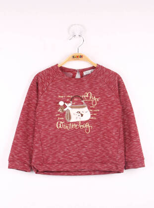 Maroon - Girls` Sweatshirt - Toontoy