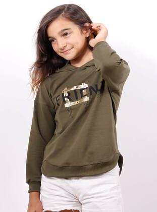Khaki - Girls` Sweatshirt