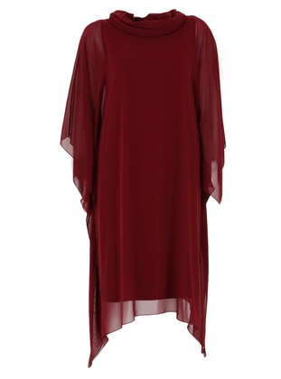 Maroon - Fully Lined - Crew neck - Modest Plus Size Evening Dress
