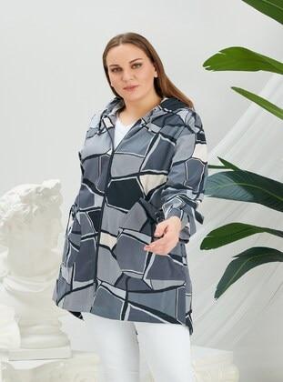 Gray - Plus Size Trench coat - RMG XXL