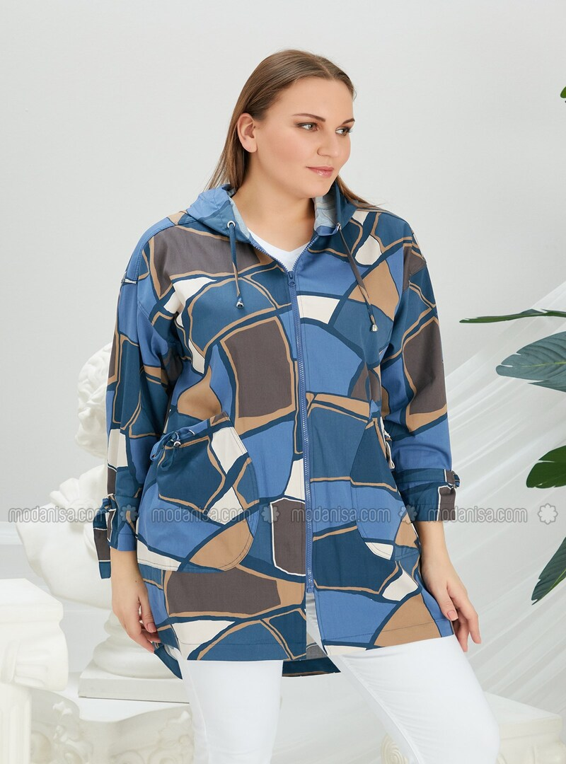 Indigo - Plus Size Trench coat
