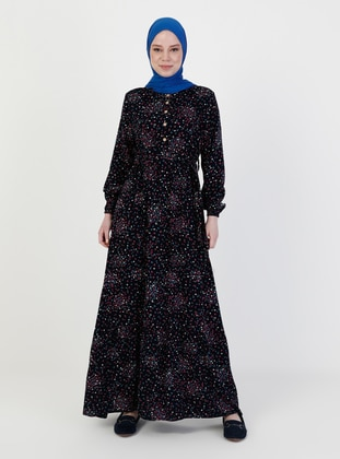 Navy Blue - Floral - Crew neck - Unlined - Modest Dress
