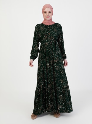 Emerald - Floral - Crew neck - Unlined - Modest Dress