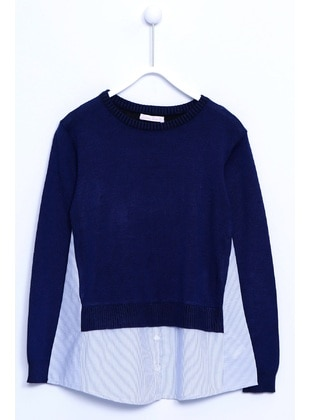 Navy Blue - Girls` Pullover - Silversun
